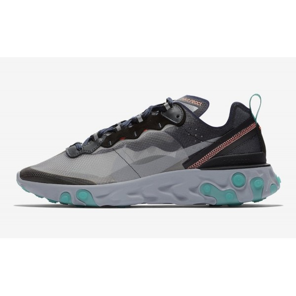 Nike React Element 87 Negras/Verde/Bright Mango - ...